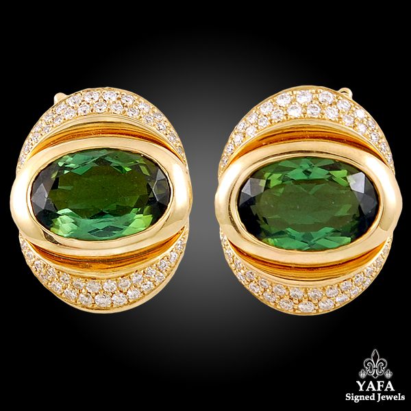 MARINA B. Oca Collection Green Tourmaline, Diamond Earrings