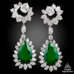 HARRY WINSTON Pear Shape Emerald, Diamond Earrings