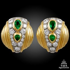 Estate 18k Gold Diamond, Emerald Earrings