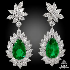Modern Platinum Diamond,Pear Shape Emerald Earrings