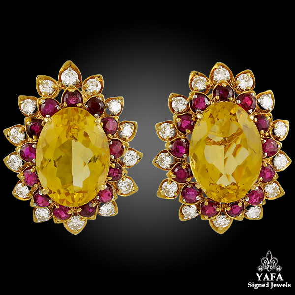 DAVID WEBB Citrine, Diamond, Ruby Earrings