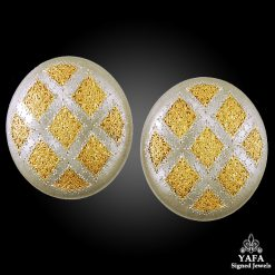 BUCCELLATI Two Tone Geminato Button Earrings
