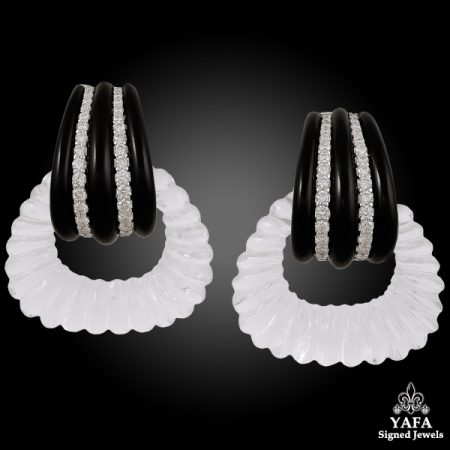 SEAMAN SCHEPPS Diamond Onyx Ear Clips