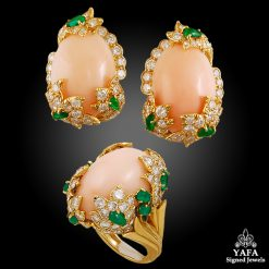DAVID WEBB Coral, Diamond,Emerald Earrings Suite