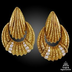 VAN CLEEF & ARPELS Diamond Hammered Ear Clips