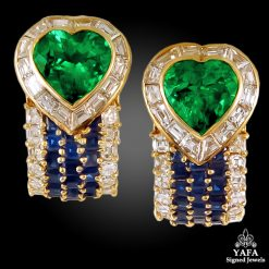 VAN CLEEF & ARPELS Diamond, Sapphire,Emerald Earrings
