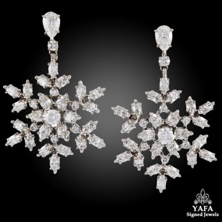 Harry Winston Diamond Snowflakes Earrings Yafa Signed Jewels