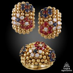 VAN CLEEF & ARPELS 'Bagatelle' Sapphire, Ruby, Diamond Gold Ring, Earrings