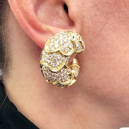MARINA B Onda Crescent Diamond Earrings