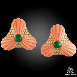 OSCAR HEYMAN Diamond, Coral,Emerald Ear Clips
