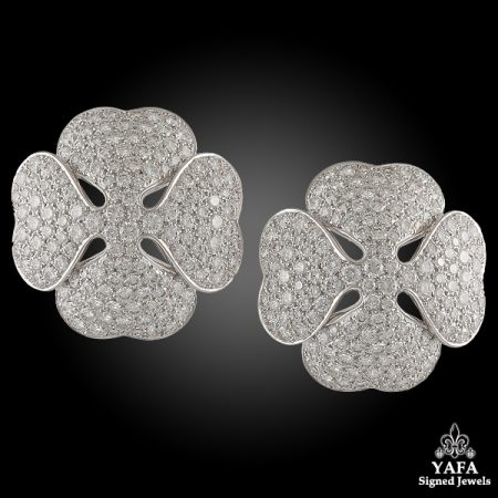 CARTIER Diamond Clover Ear Clips