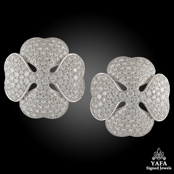 CARTIER Diamond Clover Earrings