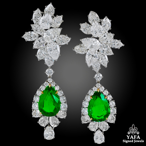 HARRY WINSTON Emerald, Diamond Pendant Earrings