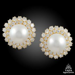 VAN CLEEF & ARPELS Diamond, Pearl Ear Clips