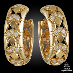 CARTIER Diamond Hoop Gold Earrings
