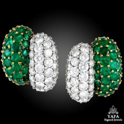Two Tone Diamond, Emerald Earrings