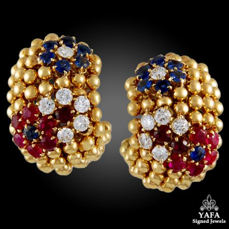 VAN CLEEF & ARPELS  Diamond,Ruby,Sapphire earrings
