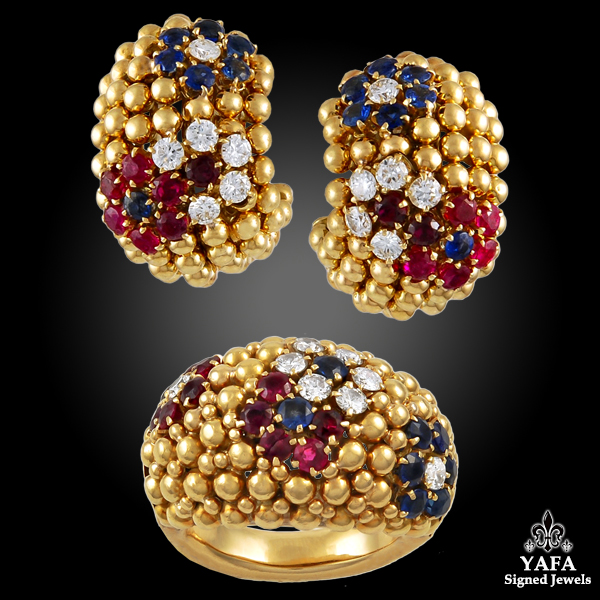 VAN CLEEF & ARPELS Diamond,Ruby,Sapphire Earrings Suite
