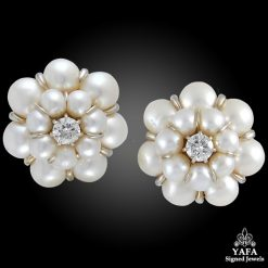 18k Gold Diamond, Pearl Earrings