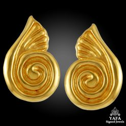 18k Gold Swirl Design Earrings