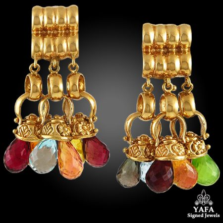 18k Gold Briolettes Gemstone Earrings