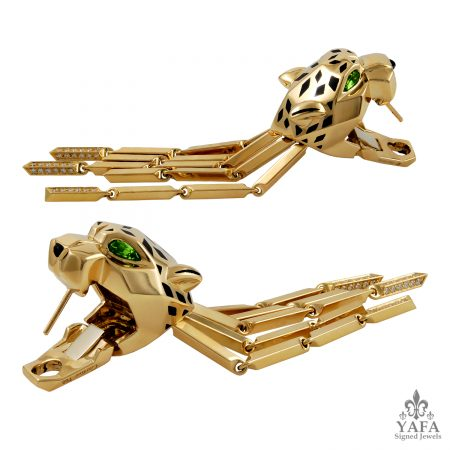 CARTIER Panther Diamond, Peridot Eyes Tassel Earrings