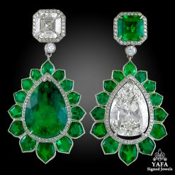 Modern Diamond,Pear Shaped Emerald Ear Clips