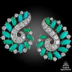VAN CLEEF & ARPELS Diamond,Turquoise Ear Clips