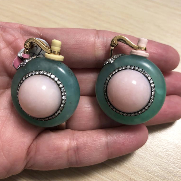 JAR 18k/Silver Diamond, Chrysoprase, Pink Opal Earrings