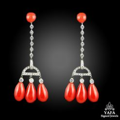 Platinum Coral Diamond Earrings