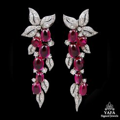 Platinum Cabochon Rubellite & Diamond Earrings