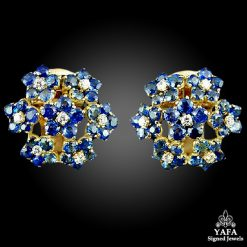 VAN CLEEF & ARPELS Diamond, Sapphire Flower Earrings