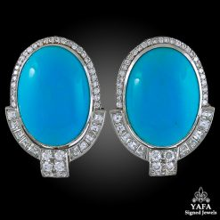 Diamond & Oval-Shaped Turquoise Earrings