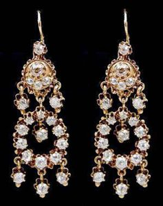 18k Gold Diamond Chandelier Earrings