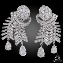 Platinum Pear-Shaped Diamond Earrings