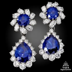 Contemporary Sapphire Diamond Detachable Drop Earrings