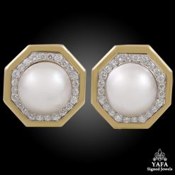 VAN CLEEF & ARPELS Fine Mabe Pearl Diamond Octagon Ear clips