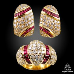 18k Gold Diamond, Ruby Earrings,Ring