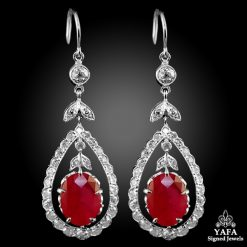 White Gold Diamond & Ruby Earrings