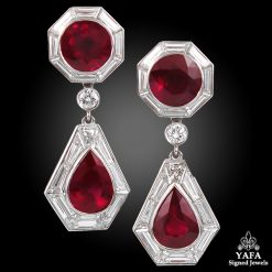 Contemporary Ruby Diamond Drop Earrings