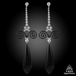 Platinum Diamond & Onyx Earrings - 2.79cts.