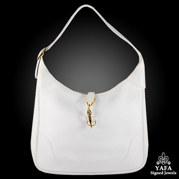 HERMES White Clemence Trim Bag