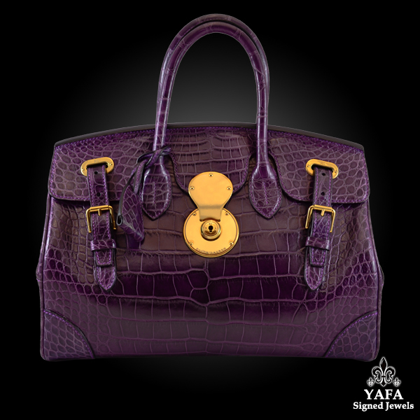 RALPH LAUREN Matte Deep Purple Alligator Ricky Bag