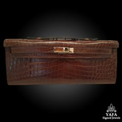 HERMES Makasar Brown Crocodile Kelly Cut Clutch Bag