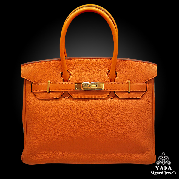 HERMES 30cm Clemence Birkin Bag Orange