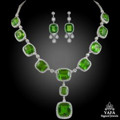 Platinum Diamond, Peridot Necklace & Earrings