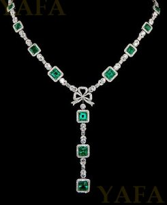 Platinum Diamond, Emerald Bow Necklace