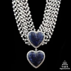 18k Gold Pearl, Sapphire Necklace