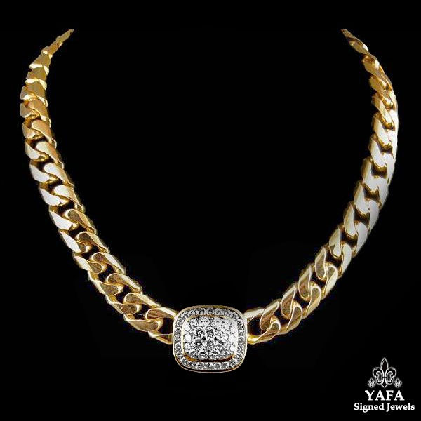 18k Yellow Gold Diamond Link Necklace