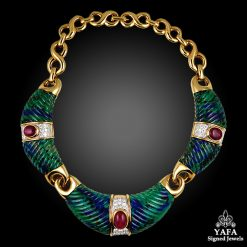 DAVID WEBB Torque Necklace Azure Malachite & Rubies